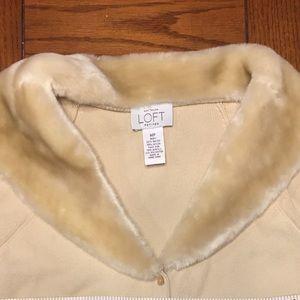 Ann Taylor Loft Petite Med Sweater Faux Fur Collar